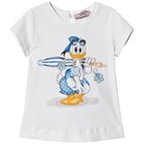 Monnalisa White Donald Duck Print Top with Bow Back