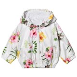 Monnalisa White Floral Jungle Book Print Hooded Windbreaker