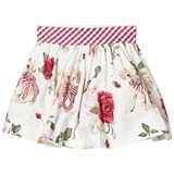 Monnalisa White Rose and Puppy Print Skirt