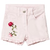 Monnalisa Pink Rose Embroidered Frill Hem Shorts