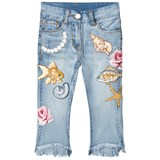 Monnalisa Light Wash Embroidered Seaside and Pearl Jeans