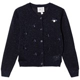 Le Chic Navy Lurex Bow Detail Cardigan