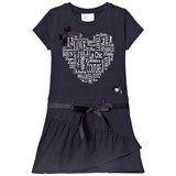 Le Chic Navy Heart Print Jersey Dress