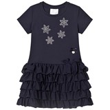 Le Chic Navy Flower Diamante Ruffle Dress