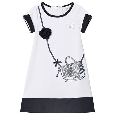 Le Chic White and Navy Handbag and Flower Applique Dress