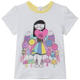 Little Marc Jacobs White Miss Marc and Sweeties Print Tee
