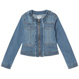 Mayoral Light Wash Flower Applique Denim Jacket