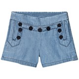 Chloé Blue Engraved Buttons Sailor Denim Short