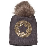 Ticket To Heaven Grey Knit Star Bobble Hat