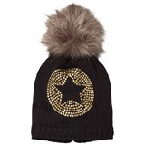 Ticket To Heaven Black Knit Star Bobble Hat