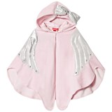 Kate Mack - Biscotti Pink Towelling Poncho with Angel Wings