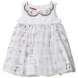 Kate Mack - Biscotti White Musical and Heart Print Tulle Overlay Dress