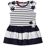 Kate Mack - Biscotti Navy and White Stripe Flower Applique Infants Dress