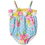 Kate Mack - Biscotti Blue Spotty Flower Print and Flower Applique Infants Swimsuit