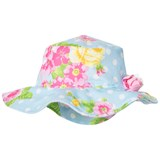 Kate Mack - Biscotti Blue Spotty and Flower Print with Flower Applique Sun Hat