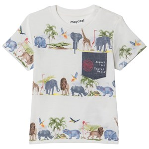 Mayoral Cream Jungle Animals Print Tee 12 months