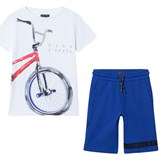 Mayoral White Bike Print Tee and Blue Sweatshorts Set