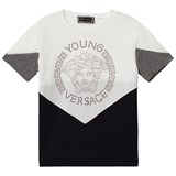 Young Versace Monochrome Colour Block Stud Medusa T-Shirt