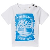 Timberland Kids White and Blue Tree Logo Print Tee