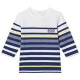 BOSS Blue and Navy Long Sleeve Stripe Tee