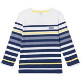 BOSS Navy and White Branded Long Sleeve Tee