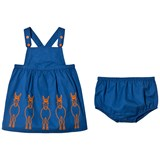 Stella McCartney Kids Blue Donkey Embroidered Raisin Dress