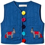 Stella McCartney Kids Navy Donkey and Pom Pom Quilted Twister Gilet