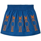 Stella McCartney Kids Royal Blue Donkey Embroidered Skirt with Bow Detail