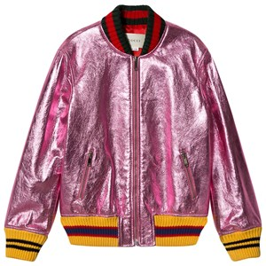GUCCI   Gucci Pink Metallic Leather Bomber Jacket 12 Years   Goxip