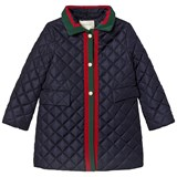 Gucci Navy Diamond Quilted Long line Jacket with Pearl Buttons and Stripe Trims