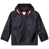 Gucci Navy GG Jacquard Windbreaker with Hood and Knit Collar Trim