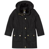 Barbour Black International Garrison Hooded Jacket with Faux Fur Collar Detail