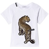Dolce & Gabbana White Leopard Applique Branded Tee