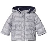 Mayoral Grey Knit Print Puffa Coat with Detachable Hood