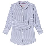 Pepe Jeans Blue and White Daisy Stripe Tie Waist Shirt Dress