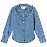 Pepe Jeans Blue Rosy Ruffle Detail Denim Shirt