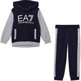 Armani Junior Navy and Grey EA7 Branded Tracksuit