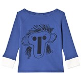 Bobo Choses Jubilee Blue Face Motif Three Quarter Sleeve T-Shirt
