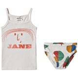 Bobo Choses White Raindrops Little Jane T-Shirt And Brief Set