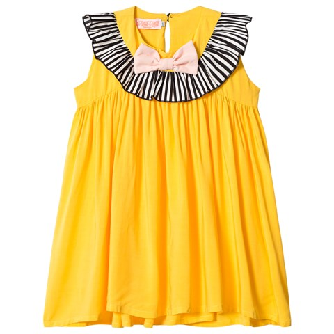 Bang Bang Copenhagen Yellow Frill Neck and Bow Pretty Pretty Dress