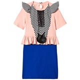 Bang Bang Copenhagen Pink and Blue Zebra Applique True Trophy Frill Dress