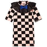 Bang Bang Copenhagen Pink and Black Ruby Check Dress with Glitter Frill Collar