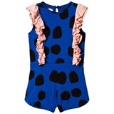 Bang Bang Copenhagen Blue Spot Elenora Playsuit with Pink Frill Detail