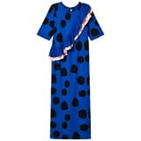 Bang Bang Copenhagen Blue Spot Frill Barcelona Maxi Dress