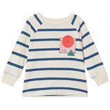 Bobo Choses Buttercream Breton Stripes Three Quarter Sleeve T-Shirt