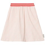 Tinycottons Off-White and Carmine Grid Mid-Length Skirt