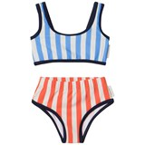Tinycottons Blue And Orange Striped Swim Set