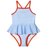 Tinycottons Light Cerulean Blue Grid Swimsuit