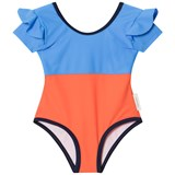 Tinycottons Cerulean Blue and Orange Frills Swimsuit