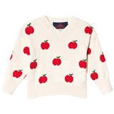 The Animals Observatory Cream Red Apple Toucan Baby Sweater